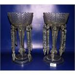 Pair cut clear glass lustres, the bowl with cross cut and serrated edge, panelled tapering column