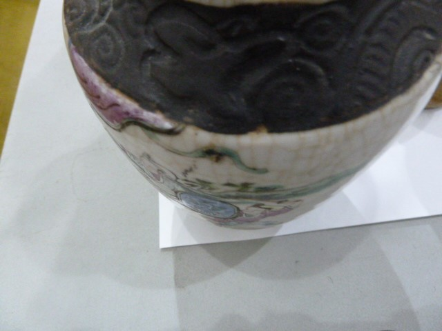 Pair of Chinese porcelain vases with simulated bronze beast handles, painted with battle scenes, - Image 23 of 30