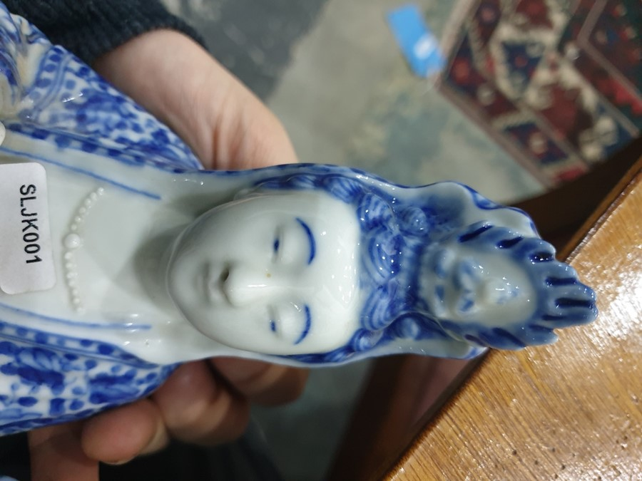 Chinese porcelain blue and white figure of a guanyin on a pierced wooden lotus leaf base, - Image 11 of 14