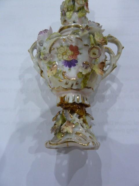 19th Century Dresden style porcelain miniature coloured vase floral encrusted, miniature porcelain - Image 2 of 5