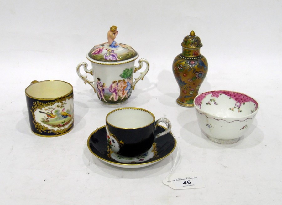 19th century Capodimonte two handled chocolatecup and cover,allover embossed and painted with