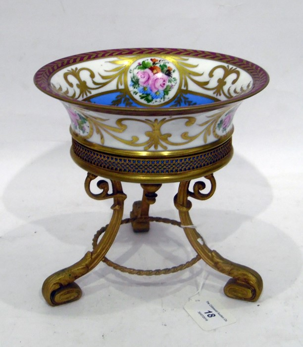 Limoges porcelain gilt-metal mounted tazza, 20th century, printed and painted marks, painted with