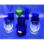 Set of six glass rinsers,glass jug, green moulded cover comportand two rummer style goblets