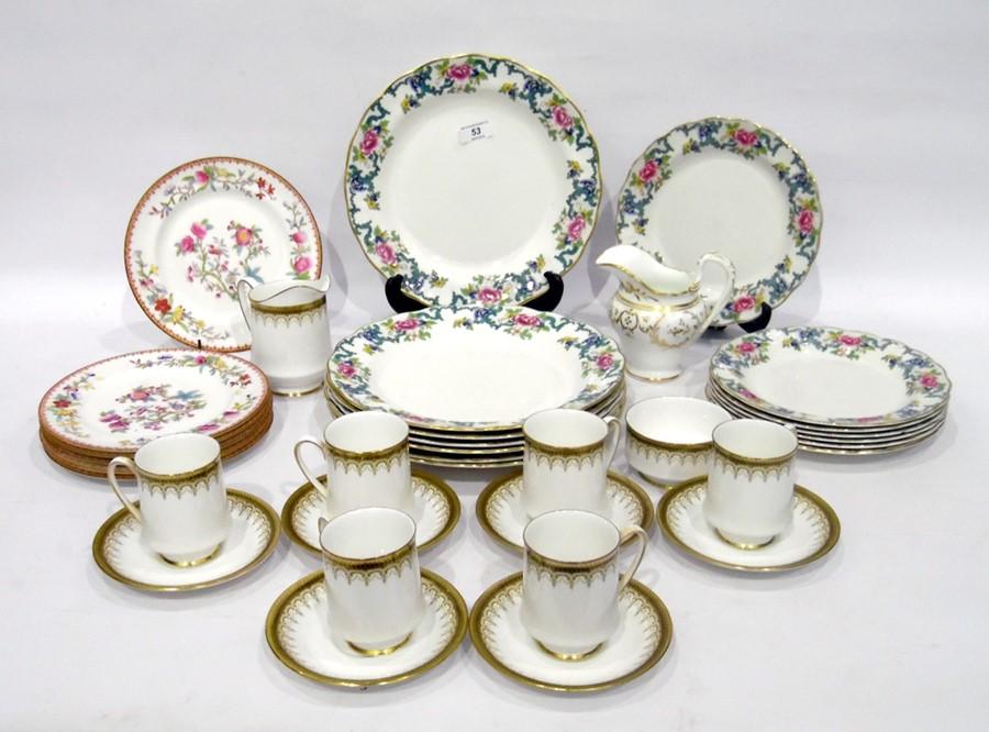 Quantity Royal Doulton china 'Flora Dora' pattern dinnerware, Royal Doulton china salad plates and