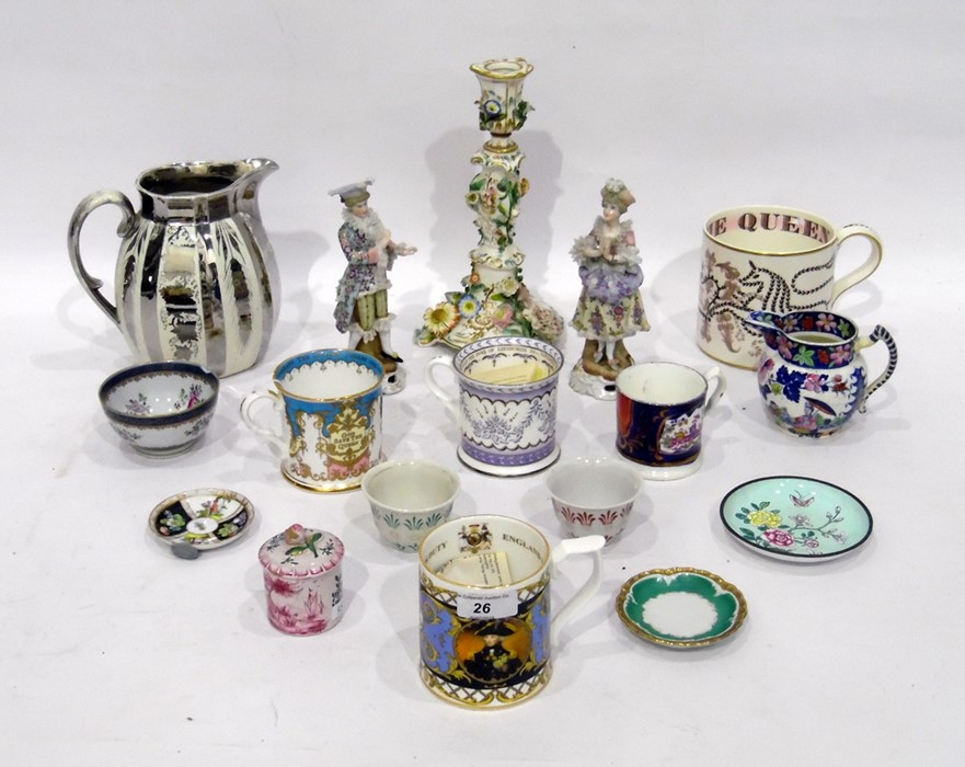 Various items of English and Continental pottery and porcelain, including four commemorative mugs