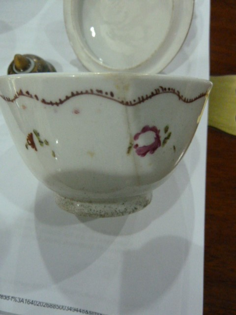 19th century Capodimonte two handled chocolatecup and cover,allover embossed and painted with - Image 5 of 9