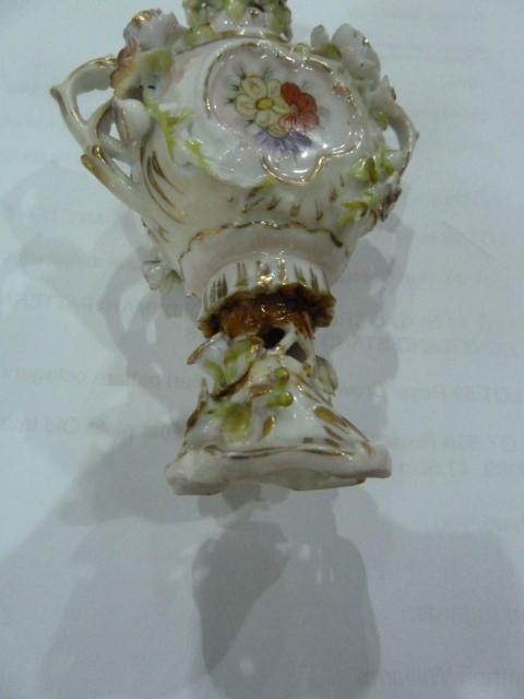 19th Century Dresden style porcelain miniature coloured vase floral encrusted, miniature porcelain - Image 4 of 5
