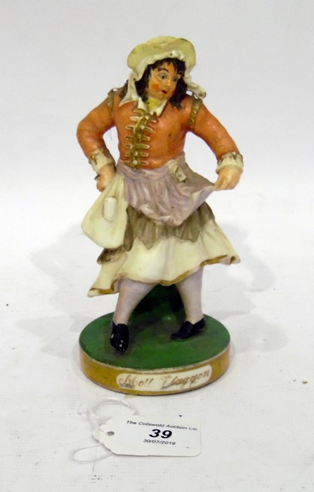 Rockingham Theatrical Porcelain Figure. Modelled as John Liston in the role of Moll Flaggon, in