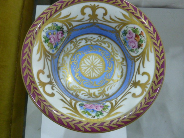 Limoges porcelain gilt-metal mounted tazza, 20th century, printed and painted marks, painted with - Image 3 of 5