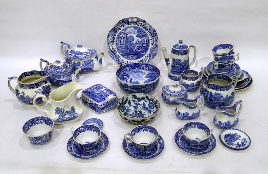 Composite Spode and Copeland Spode 'Italian' pattern blue and white part dinner, tea and coffee-