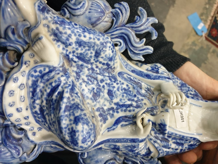 Chinese porcelain blue and white figure of a guanyin on a pierced wooden lotus leaf base, - Image 12 of 14