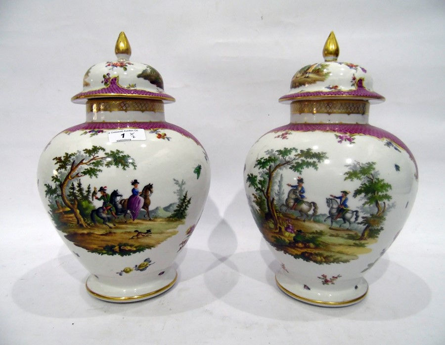 Pair of Dresden porcelain baluster vases and domed covers, circa 1900, blue conjoined AR