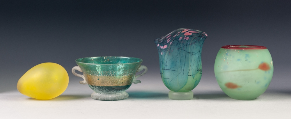 """Lot 17 - MDINA PALE BLUE CASED ORBICULAR GLASS VASE, with red rim, 3 ¼"""" (8.2cm) high, together with a MDINA"""