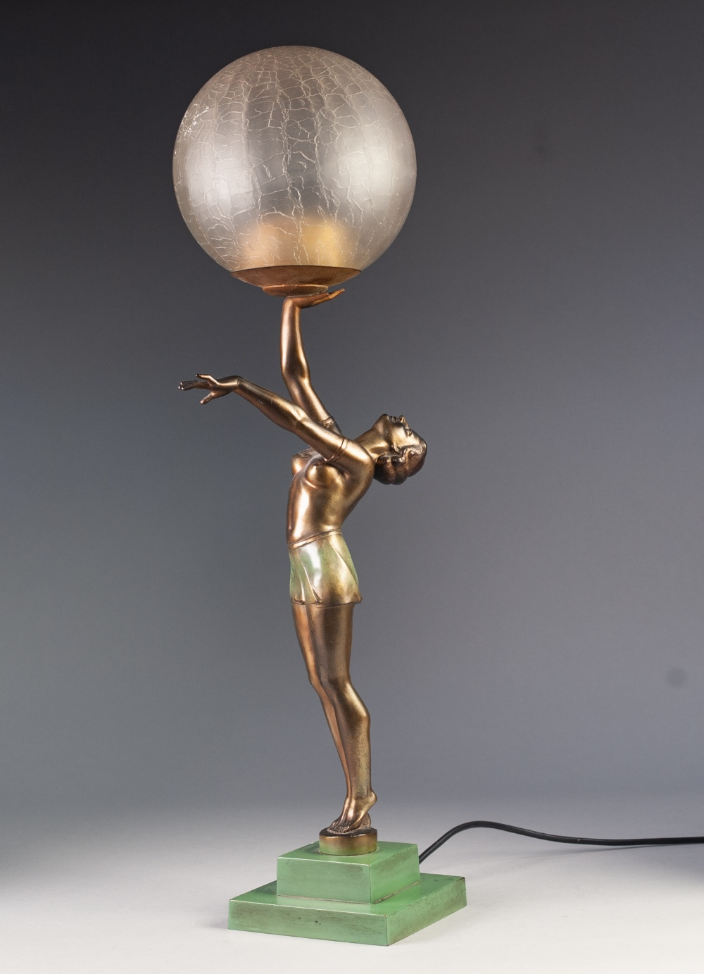 Lot 30 - ART DECO COLD PAINTED SPELTER FIGURAL TABLE LAMP, modelled as a female figure in stylised pose
