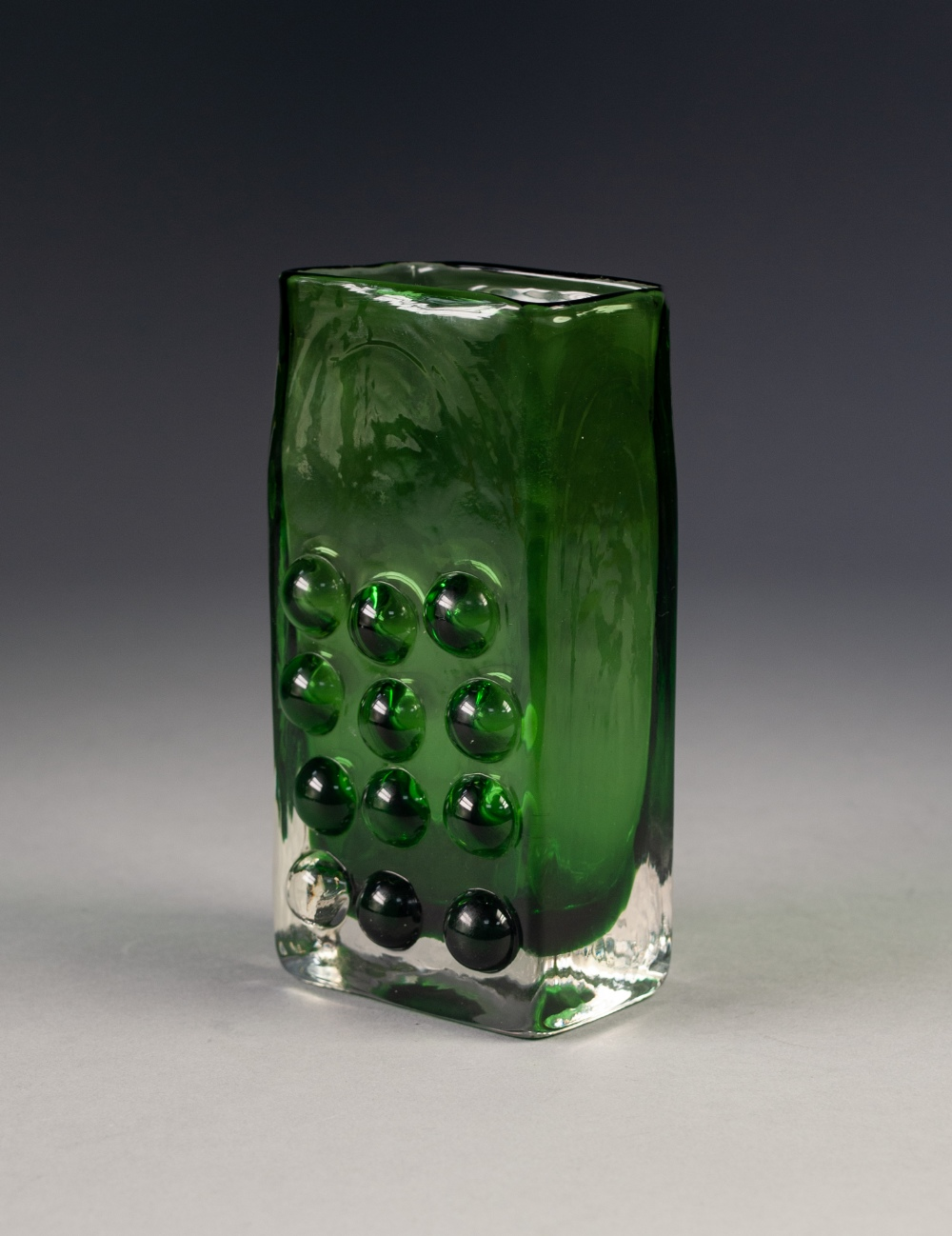 "Lot 38 - GEOFFREY BAXTER FOR WHITEFRIARS GLASS, 1960's GREEN CASED 'MOBILE PHONE' VASE, 6 ½"" (16.5cm) high"