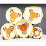 FIVE PIECES OF CLARICE CLIFF FOR NEWPORT POTTERY 'CROCUS' PATTERN POTTERY, the design painted around