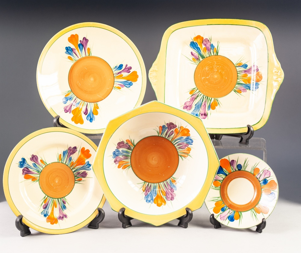 Lot 56 - FIVE PIECES OF CLARICE CLIFF FOR NEWPORT POTTERY 'CROCUS' PATTERN POTTERY, the design painted around