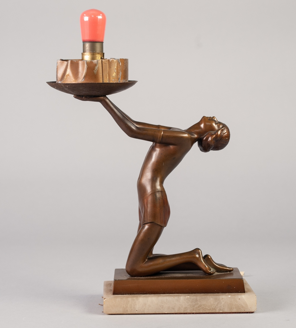 Lot 27 - ART DECO PATINATED BRONZE FIGURAL TABLE LAMP, modelled as a kneeling female figure with head back
