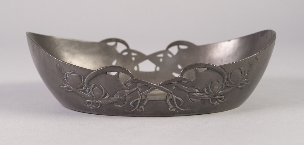 Lot 12 - SOLKETS, ENGLISH PEWTER DISH, IN THE ART NOUVEAU STYLE, of shallow, oval form with foliate pierced