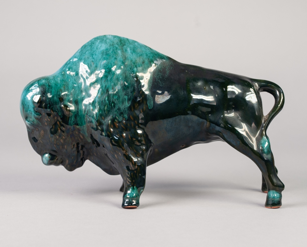 "Lot 11 - CANADIAN, BLUE MOUNTAIN POTTERY MODEL OF A BUFFALO, 7"" (17.8cm) high"