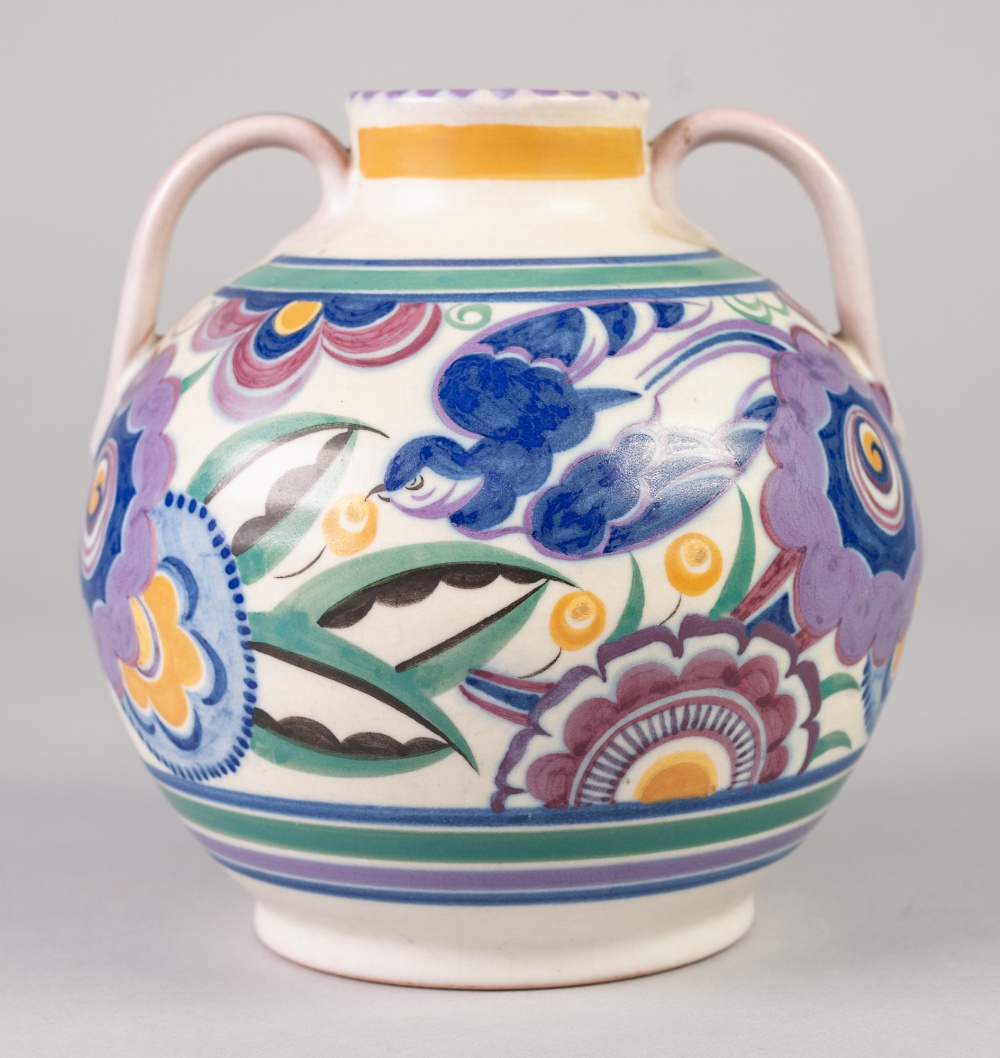 Lot 28 - A POST 1925 POOLE POTTERY TWO HANDLED GLOBULAR VASE, typically decorated in mauve, blues, green