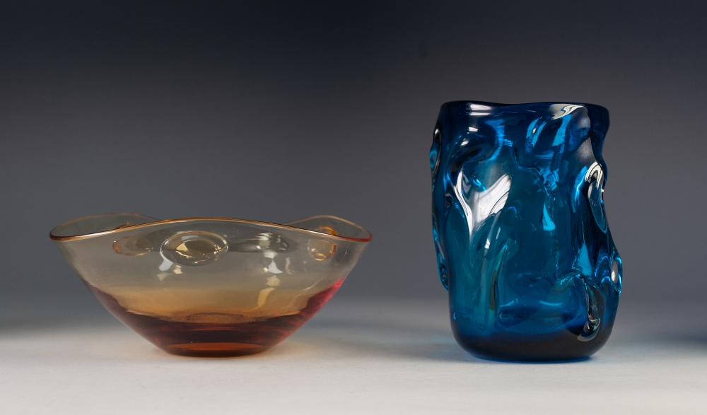 """Lot 39 - 1960's WHITEFRIARS KINGFISHER BLUE 'KNOBBLY' GLASS VASE, of broad, cylindrical form, 7 ¾"""" (19.7cm)"""