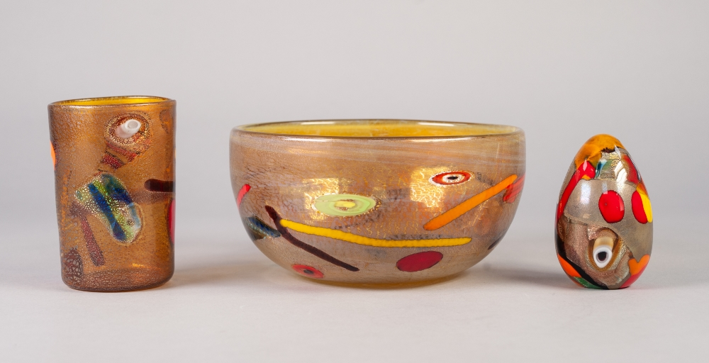 """Lot 18 - THREE PIECES OF MURANO GLASS WITH COLOURED CANE INCLUSIONS, comprising: FRUIT BOWL, 4"""" (10.2cm)"""