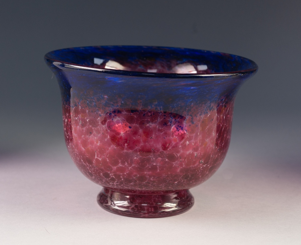 "Lot 5 - MONART MOTTLED PINK GLASS FOOTED BOWL, of steep sided form with blue tinted flared rim, 5 ¾"" (14."