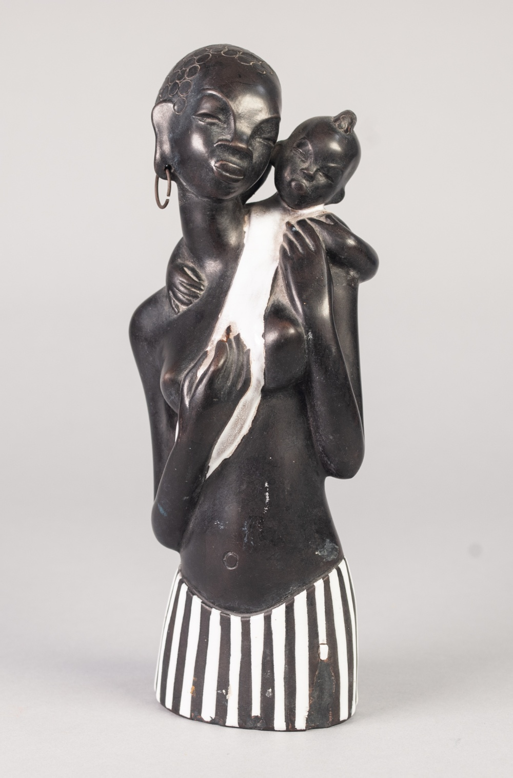 Lot 4 - EARLY TWENTIETH CENTURY 'HANDMADE IN AUSTRIA' BLACK GLAZED POTTERY GROUP OF AN AFRICAN MOTHER AND