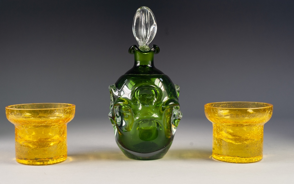 Lot 40 - BO BORGSTROM FOR ASEDA GLASS, SWEDEN, GREEN CASED DECANTER AND STOPPER, of ovoid form with clear