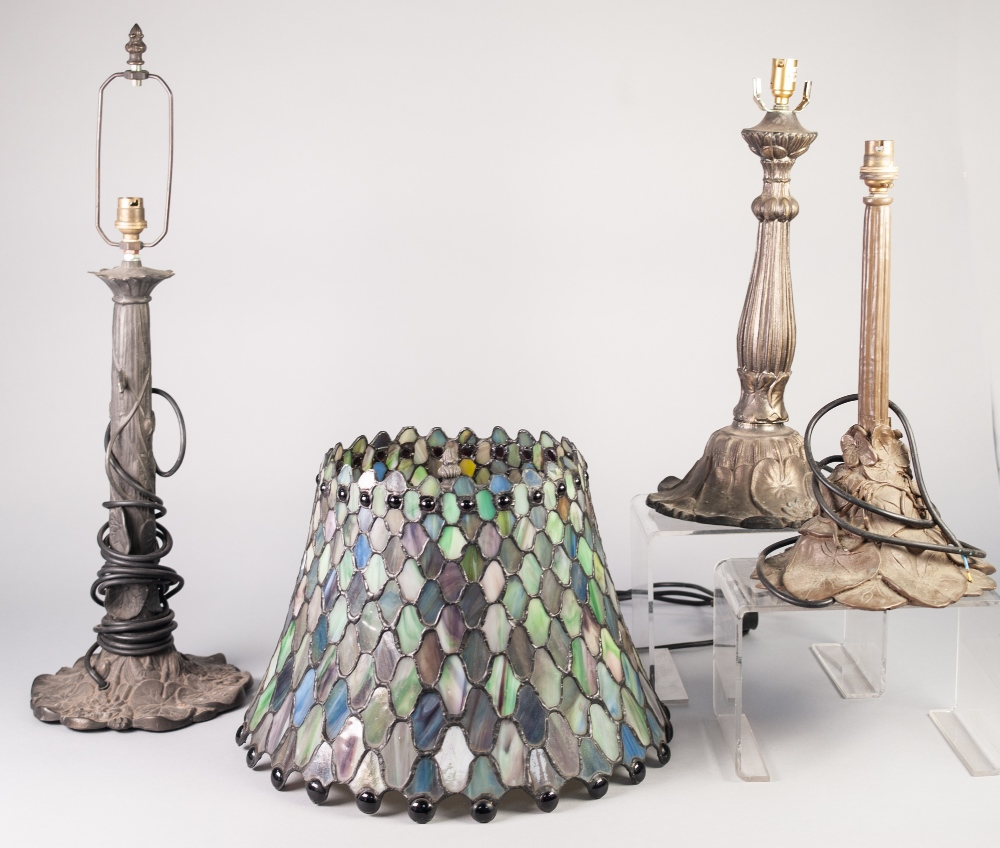 Lot 22 - THREE TIFFANY STYLE MOULDED METAL ELECTRIC TABLE LAMPS, ONE WITH COLOURED GLASS SHADE, (3)