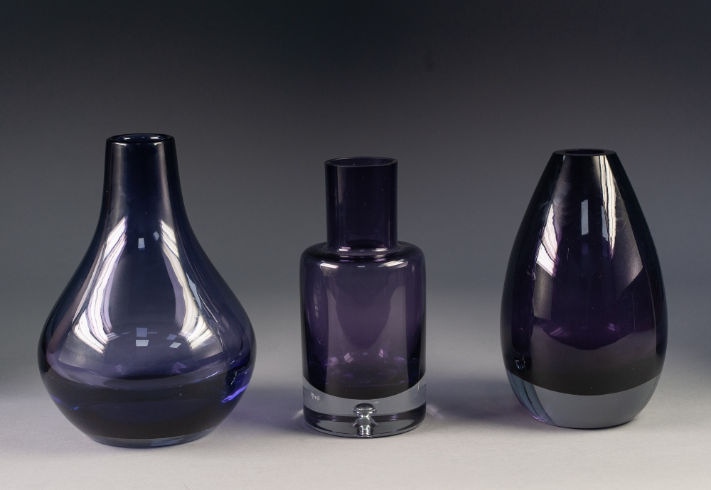 Lot 33 - THREE MID TWENTIETH CENTURY STYLISH AMETHYST GLASS VASES, including: TWO BY KROSNO, POLAND, one with