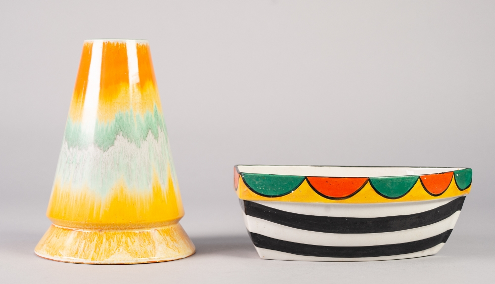 Lot 13 - SHELLEY DRIZZLE GLAZED CHINA VASE, of conical form, glazed in bands of orange, yellow, green an