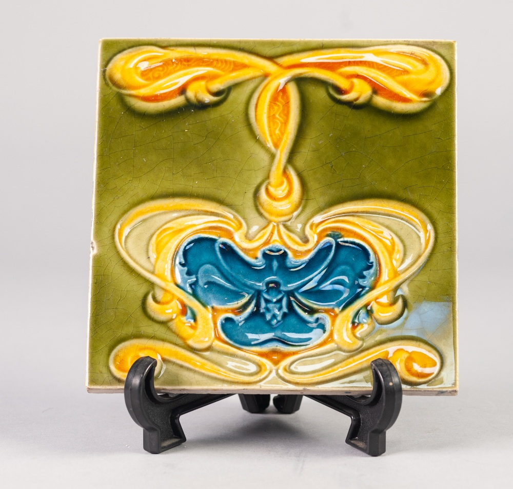 Lot 6A - A SET OF NINE CIRCA 1900 CERAMIC TILES, decorated in the Art Nouveau taste, unmarked