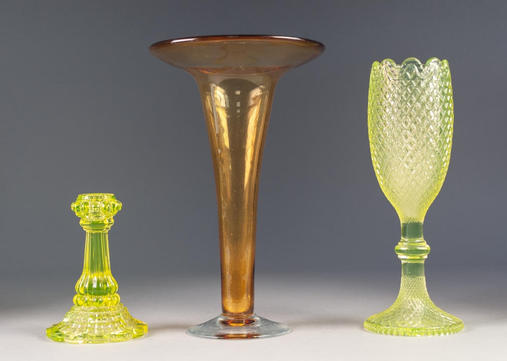 """Lot 50 - STYLISH AMBER TINTED GLASS LARGE TRUMPET VASE, with clear foot, 11"""" (28cm) high, together with TWO"""