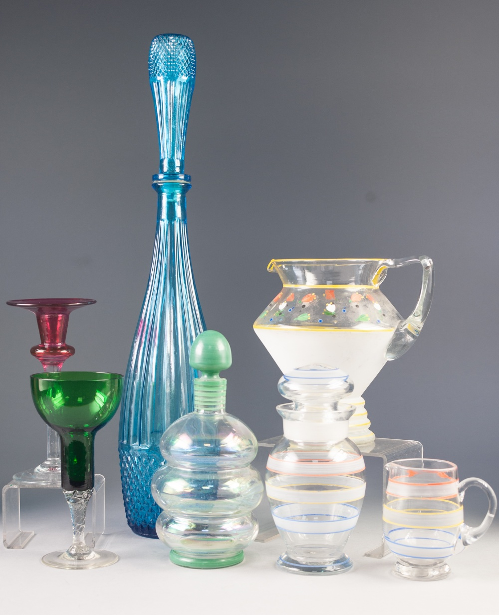 Lot 52 - STYLISH 1950's IRIDESCENT GLASS DECANTER AND STOPPER, of ribbed form with green enamelled stopper