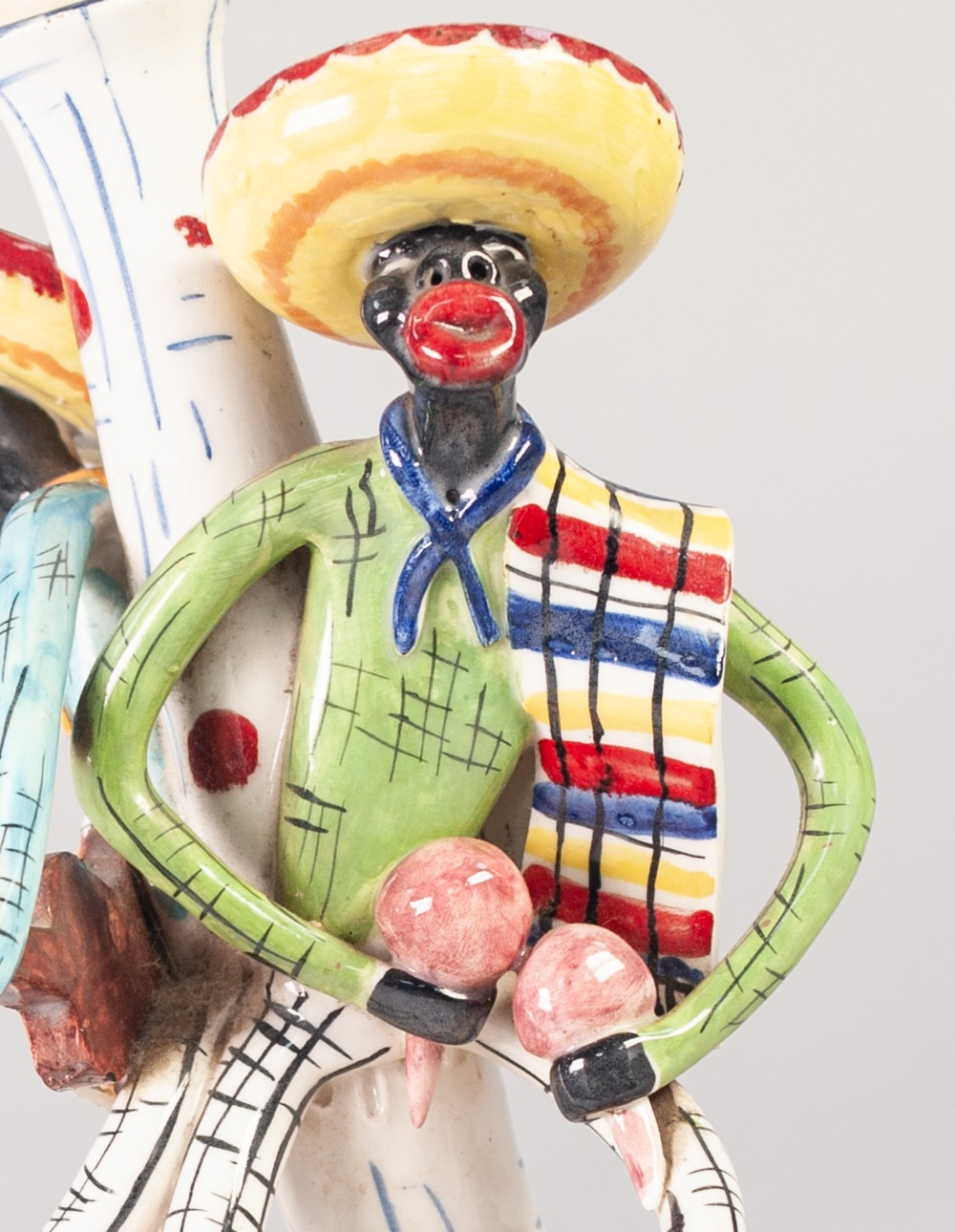 Lot 26 - STYLISH 1950'S/60'S ITALIAN FIGURAL POTTERY TABLE LAMP, painted in colours and modelled as two