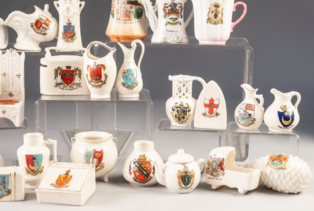 Lot 261 - TWENTY EIGHT PIECES OF MINIATURE CRESTED CHINA, including: BUCKLEY FOOTBALL AND RUGBY BALL,
