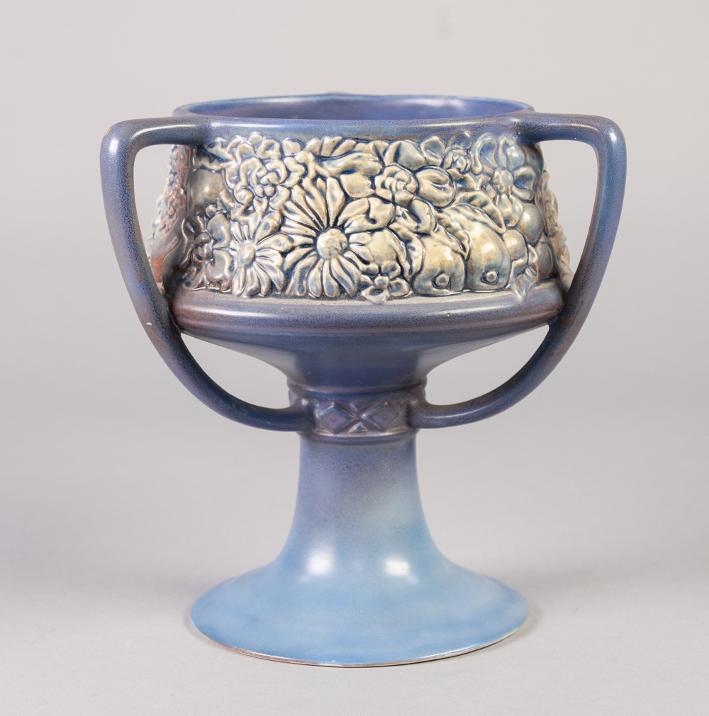 Lot 21 - 1930'S WILKINSON'S ROYAL STAFFORDSHIRE POTTERY THREE HANDLED MOULD POTTERY PEDESTAL BOWL, of chalice