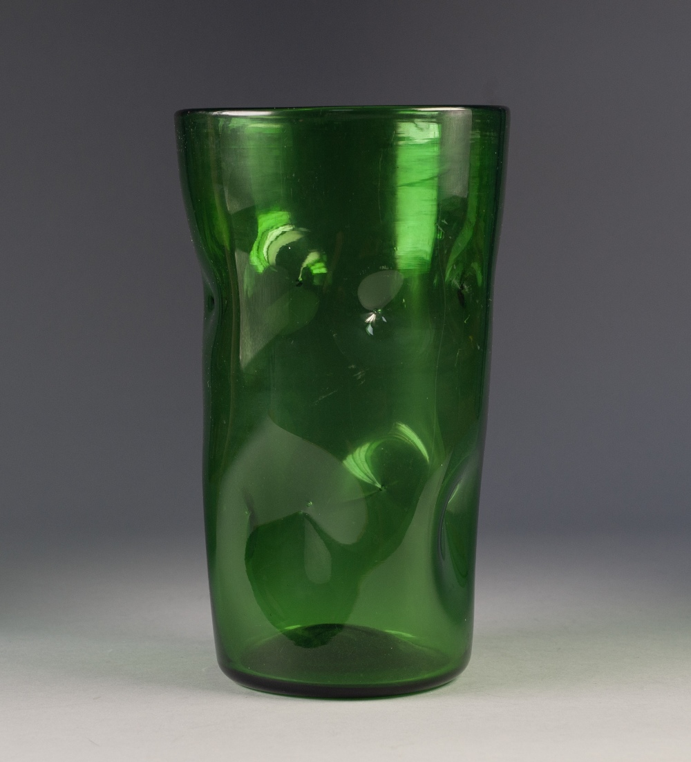 Lot 45 - MID CENTURY BLENKO STYLE GREEN 'PINCHED' GLASS VASE IN THE STYLE OF WINSLOW ANDERSON, of slightly