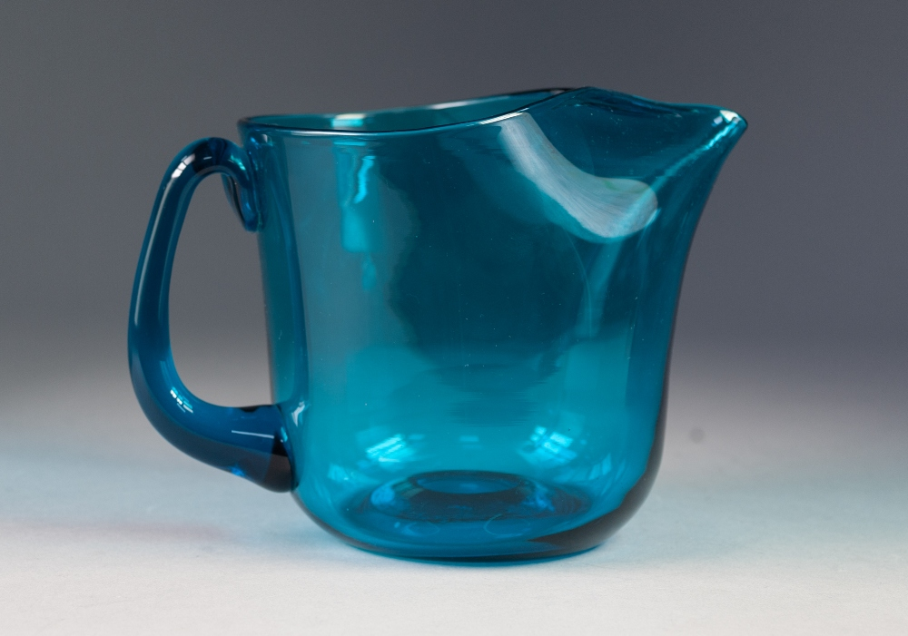 Lot 47 - KAJ FRANCK, MID TWENTIETH CENTURY KINGFISHER BLUE GLASS PITCHER, of broad, cylindrical form with