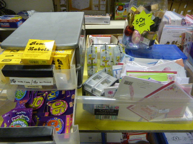 Lot 443 - Box of Baby Cards, Balloons, Coloured Tape, etc.