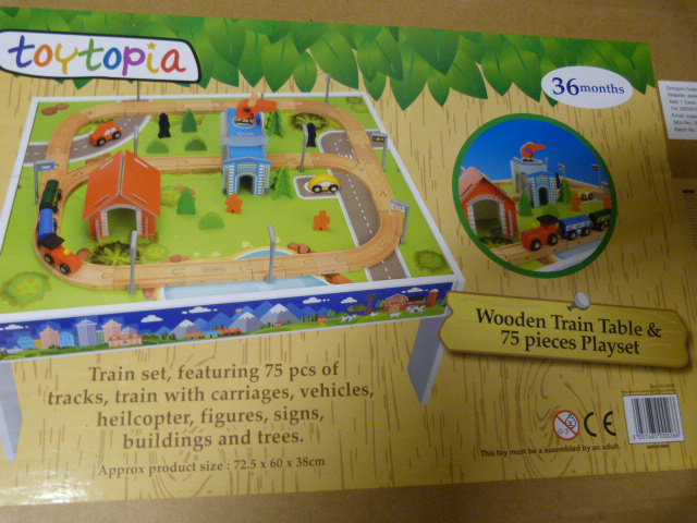 Lot 237 - *Wooden Train Table and 75 Piece Playset