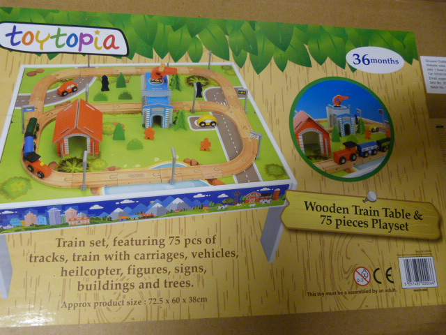 *Wooden Train Table and 75 Piece Playset