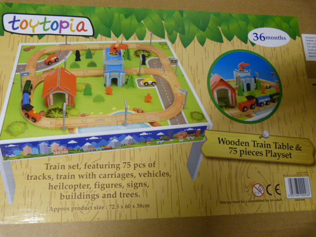 Lot 234 - *Wooden Train Table and 75 Piece Playset