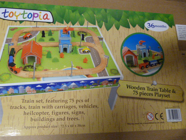 Lot 239 - *Wooden Train Table and 75 Piece Playset