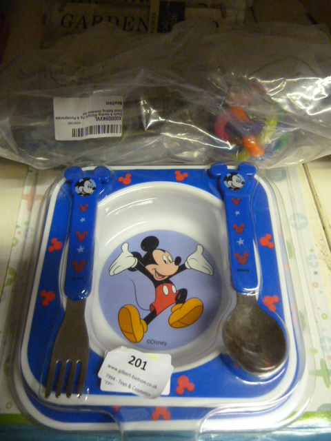 Lot 201 - *Mickey Mouse Feeding Set and a Small Bag of Toys