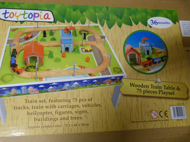 Lot 235 - *Wooden Train Table and 75 Piece Playset