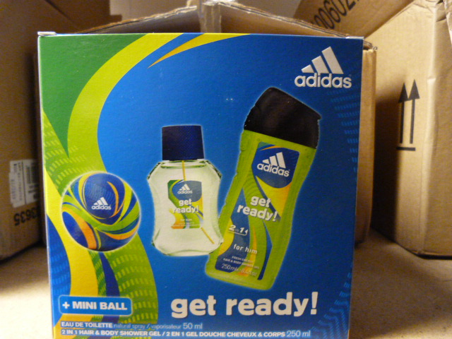 """Lot 10 - *Box of Six Adidas """"Get Ready"""" Shower Gift Sets"""