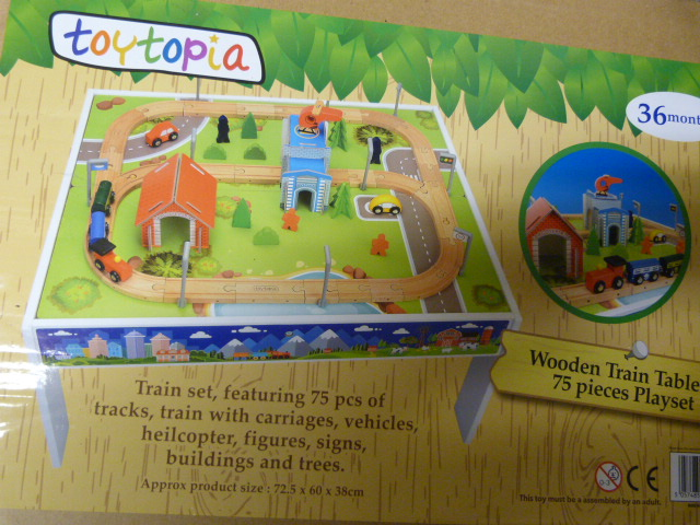 Lot 132 - *Wooden Train Table and 75 Piece Play Set